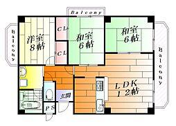 三杉プチシャトー[4階]の間取り