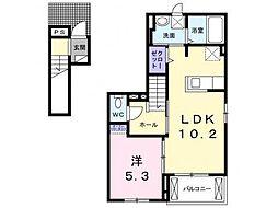 愛知県岡崎市薮田2丁目の賃貸アパートの間取り