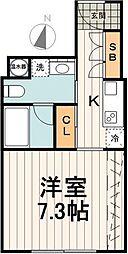 ランドレジデンス小石川 4階1Kの間取り