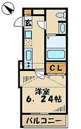 東京都八王子市堀之内3丁目の賃貸アパートの間取り