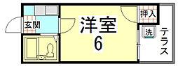 ノベルティー竜安寺[102号室]の間取り