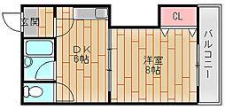 アレマーナ北加賀屋[4階]の間取り