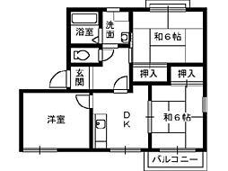 大阪府泉大津市下之町の賃貸アパートの間取り