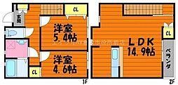 [テラスハウス] 岡山県倉敷市片島町丁目なし の賃貸【/】の間取り