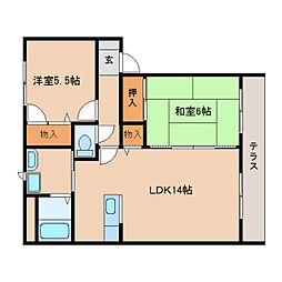 近鉄天理線 二階堂駅 徒歩2分の賃貸アパート 1階2LDKの間取り