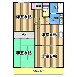 東京都武蔵村山市中原3丁目の賃貸マンションの間取り