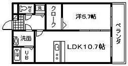 ラティア土井[1階]の間取り