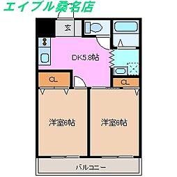 三重県桑名市長島町駒江の賃貸アパートの間取り