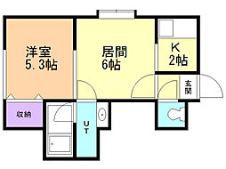 LEE SPACE 東札幌 1階1LDKの間取り
