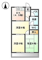 愛知県北名古屋市中之郷栗島の賃貸マンションの間取り