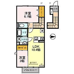 仮 D-room須賀町[205号室]の間取り