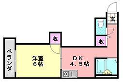 MIZUNOコーポ[203号室]の間取り