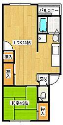 八野マンション[401号室]の間取り
