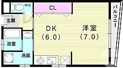 JR東海道・山陽本線 芦屋駅 徒歩15分の賃貸マンション 2階1DKの間取り