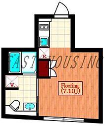 都営大江戸線 代々木駅 徒歩7分の賃貸マンション 4階1Kの間取り