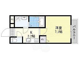 JR東西線 加島駅 徒歩3分の賃貸アパート 3階1Kの間取り
