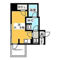 リビオレゾン新虎通り 7階ワンルームの間取り