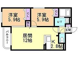 大光21番館 4階2LDKの間取り