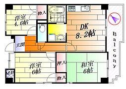 大阪府吹田市山田西2丁目の賃貸アパートの間取り