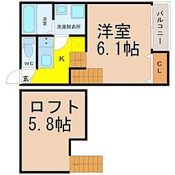 名古屋市営東山線 高畑駅 徒歩8分の賃貸アパート 2階ワンルームの間取り