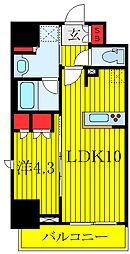 ラティエラ板橋 12階1LDKの間取り