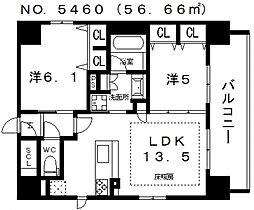 プレサンス四天王寺[1401号室号室]の間取り