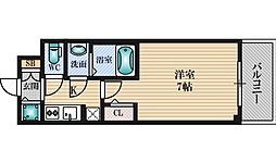 S-RESIDENCE新大阪South 7階1Kの間取り