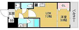 Osaka Metro千日前線 北巽駅 徒歩11分の賃貸マンション 2階1LDKの間取り