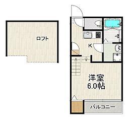 JR鹿児島本線 箱崎駅 徒歩16分の賃貸アパート 2階1Kの間取り