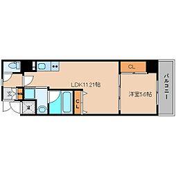 近鉄大阪線 五位堂駅 徒歩11分の賃貸マンション 3階1LDKの間取り