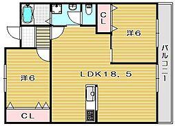 ドミールウエスト[2階]の間取り