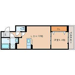 近鉄天理線 天理駅 徒歩5分の賃貸アパート 3階1LDKの間取り
