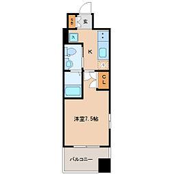 レジディア仙台上杉 6階1Kの間取り