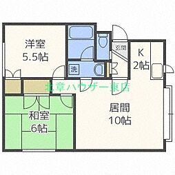 第5沼田 マンション 3階2LDKの間取り
