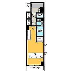 (仮称)元今泉マンション 9階1Kの間取り