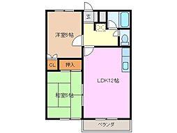 三重県四日市市松原町の賃貸アパートの間取り
