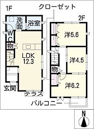 [一戸建] 愛知県名古屋市中村区靖国町1丁目 の賃貸【/】の間取り