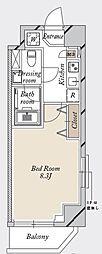 都営新宿線 森下駅 徒歩19分の賃貸マンション 5階1Kの間取り