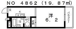 大阪府大阪市中央区上町1丁目の賃貸アパートの間取り