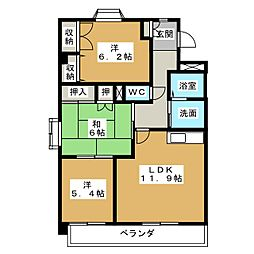 愛知県日進市梅森台3丁目の賃貸マンションの間取り