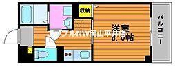 JR宇野線 備前西市駅 徒歩3分の賃貸マンション 4階1Kの間取り