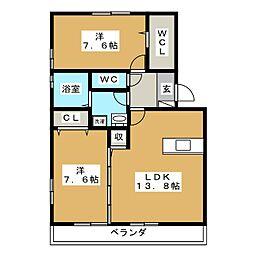 グランビアB[2階]の間取り