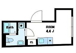 CONTEL SHINANOMACHI 2階ワンルームの間取り