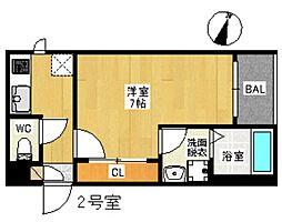 REGALEST 広島駅東 2階1Kの間取り
