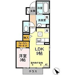 静岡県富士市天間の賃貸アパートの間取り