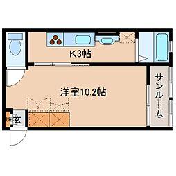 近鉄奈良線 大和西大寺駅 徒歩8分の賃貸アパート 2階1Kの間取り