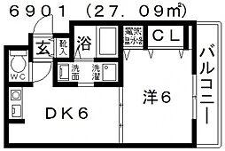 シグマ 4階1DKの間取り
