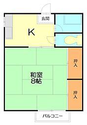 コーポ田中[3号室]の間取り