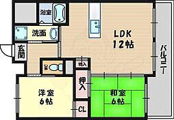 北大阪急行電鉄 桃山台駅 徒歩23分の賃貸マンション 1階2LDKの間取り