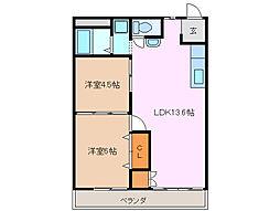 三重県四日市市別名6丁目の賃貸アパートの間取り